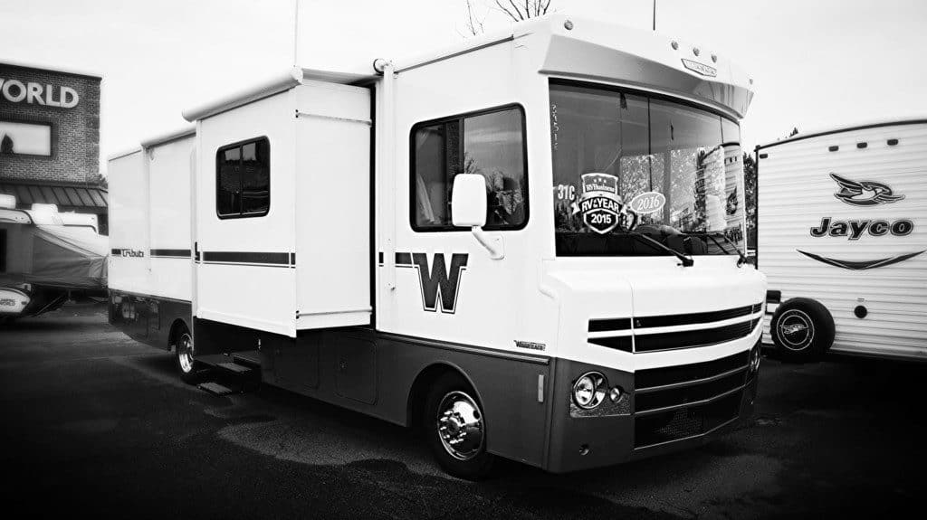 A brand new Winnebago parked at a dealership
