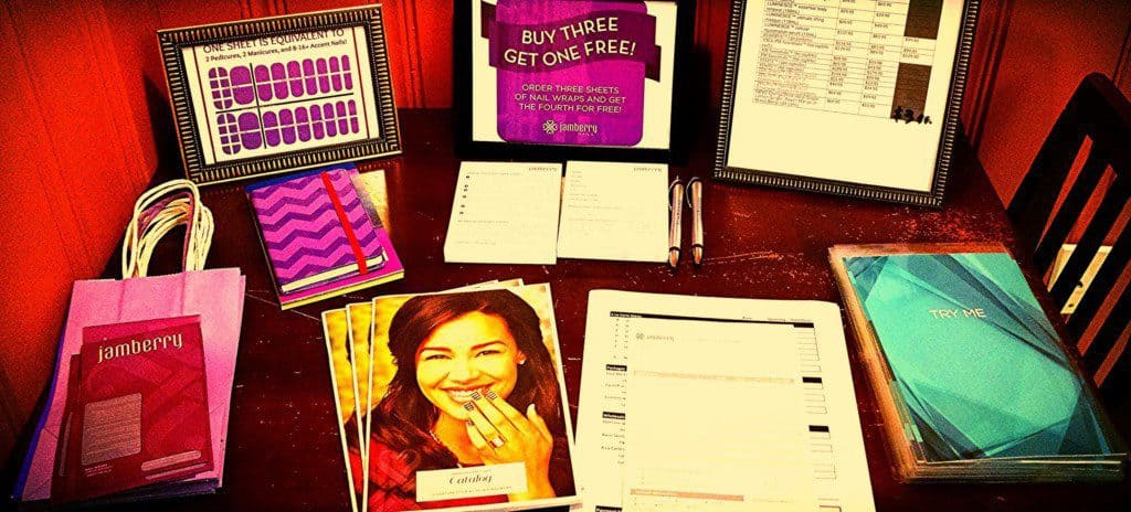 Marketing materials displayed on a table.