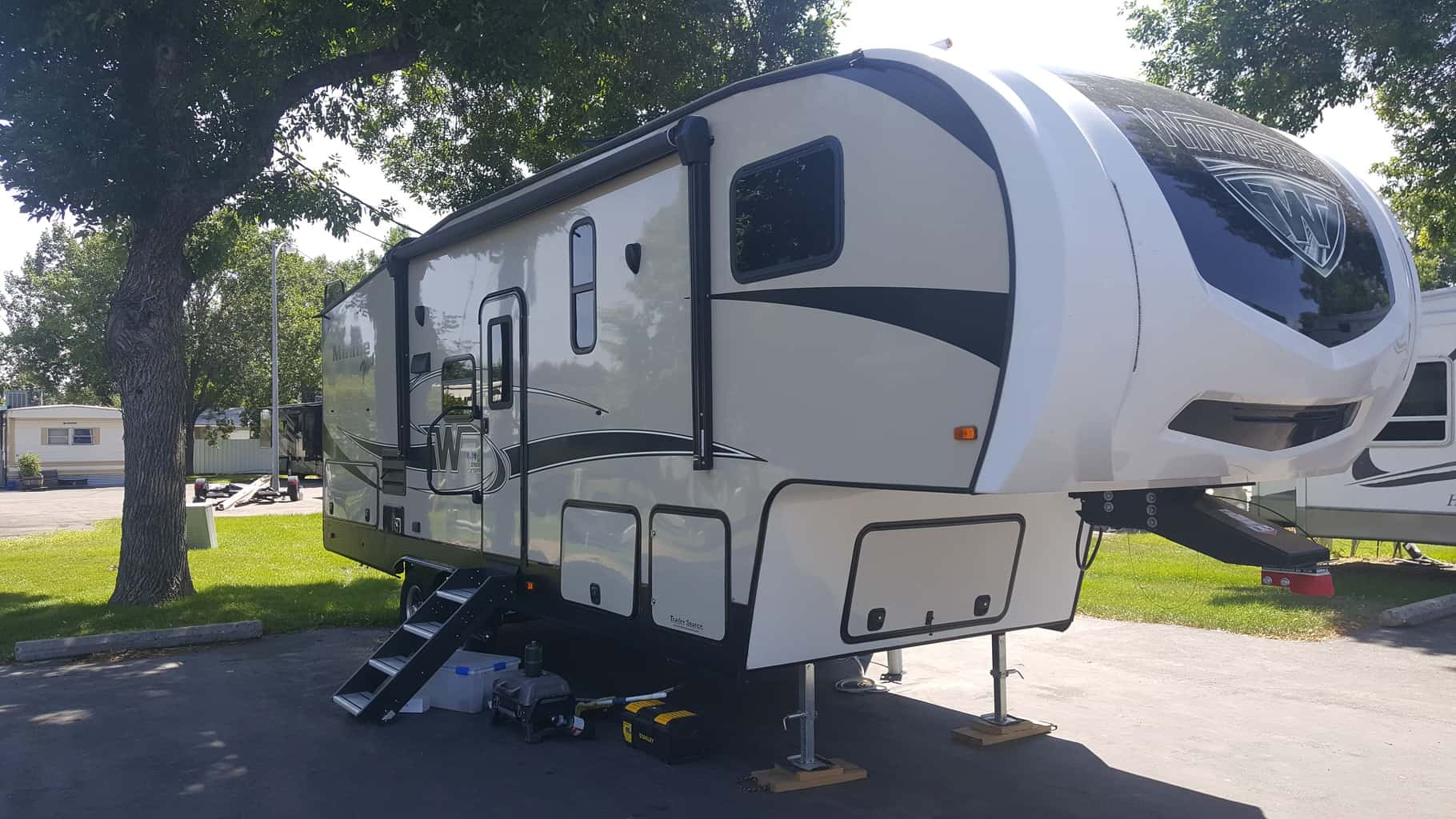 Photo of a parked fifth wheel.