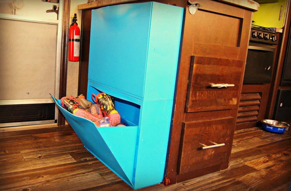 Shoe storage uses in Trones in an RV
