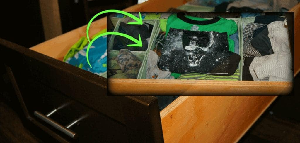 Photo of clothes being organized in an RV drawer using Skubb box set.
