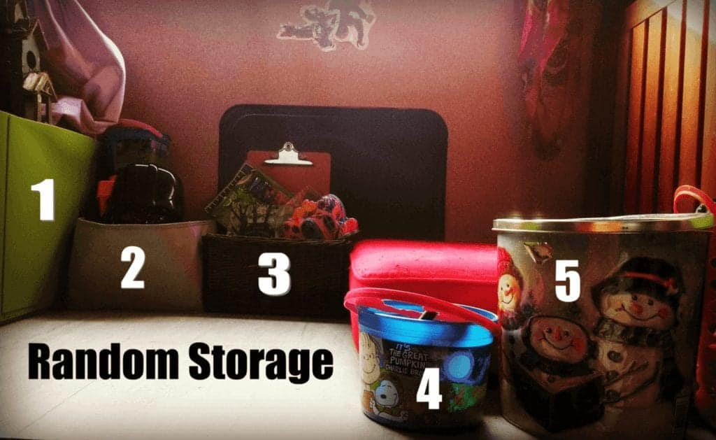 Photo of various containers used to organize items inside of an RV.
