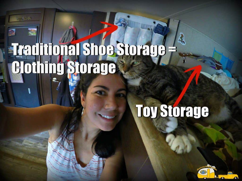 Photo of full-time RVer and her cat inside their travel trailer.