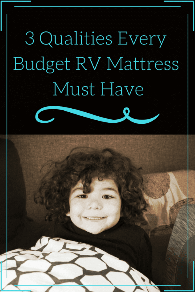 A little girl on an RV mattress.