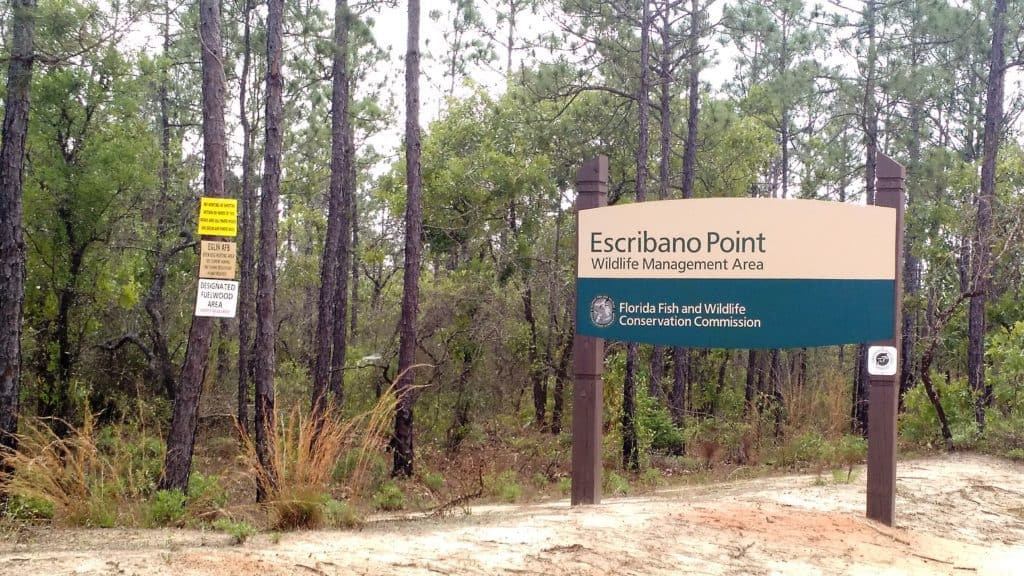 Sign for Escribano Point Wildlife Management Area.