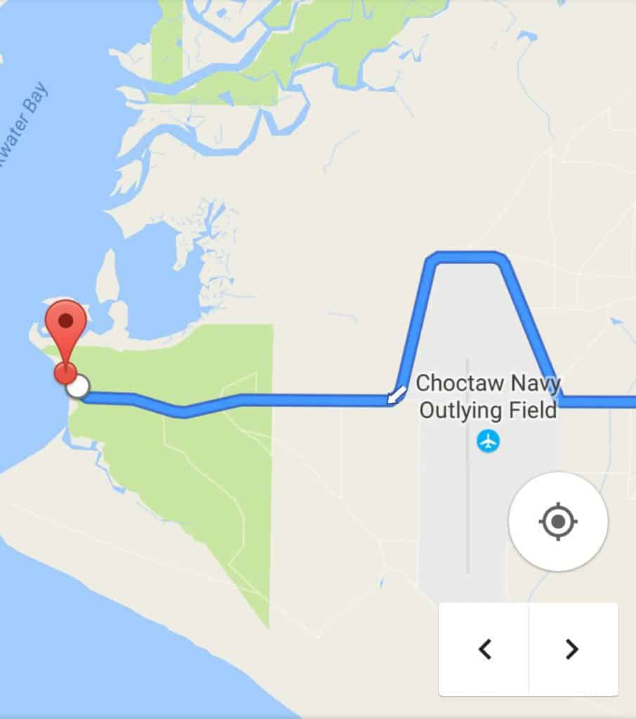 Map showing some of the route to Bayside campground on Blackwater Bay.
