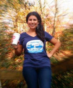 Photo of Jessica wearing her Exploring the Local Life t-shirt!