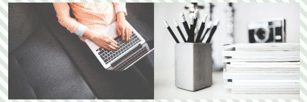 A woman types on her laptop. A desk with a camera and a full pencil holder.