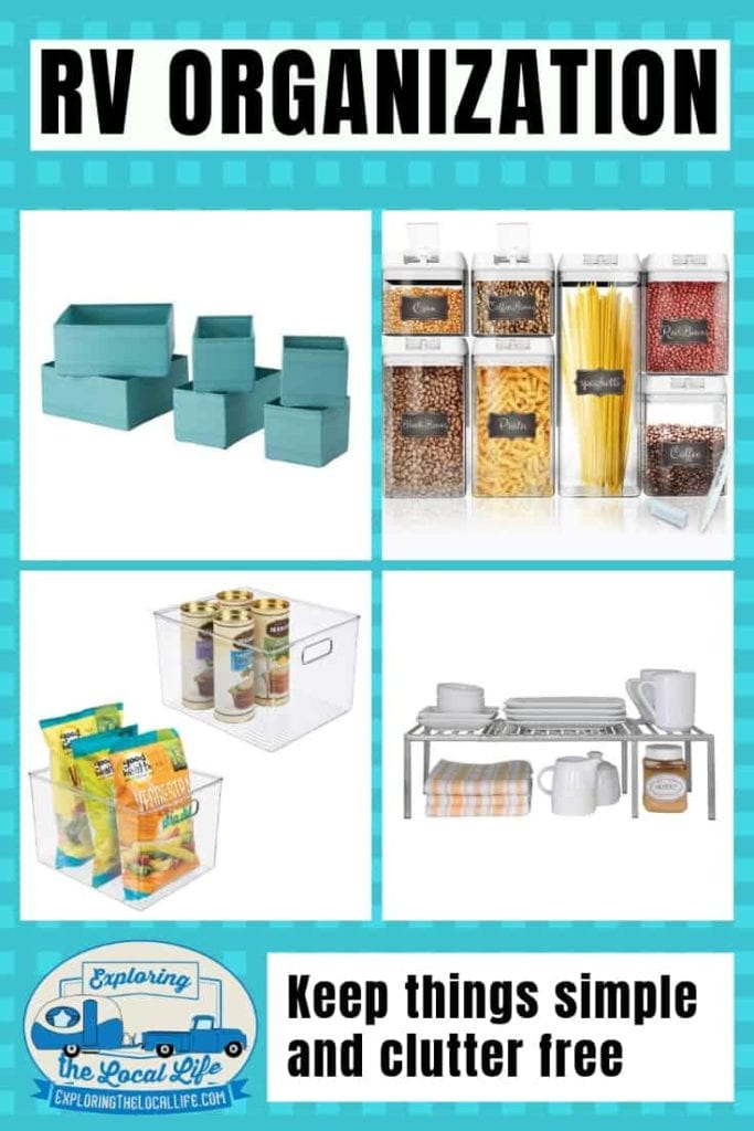 Photos of RV organization solutions for pantries.