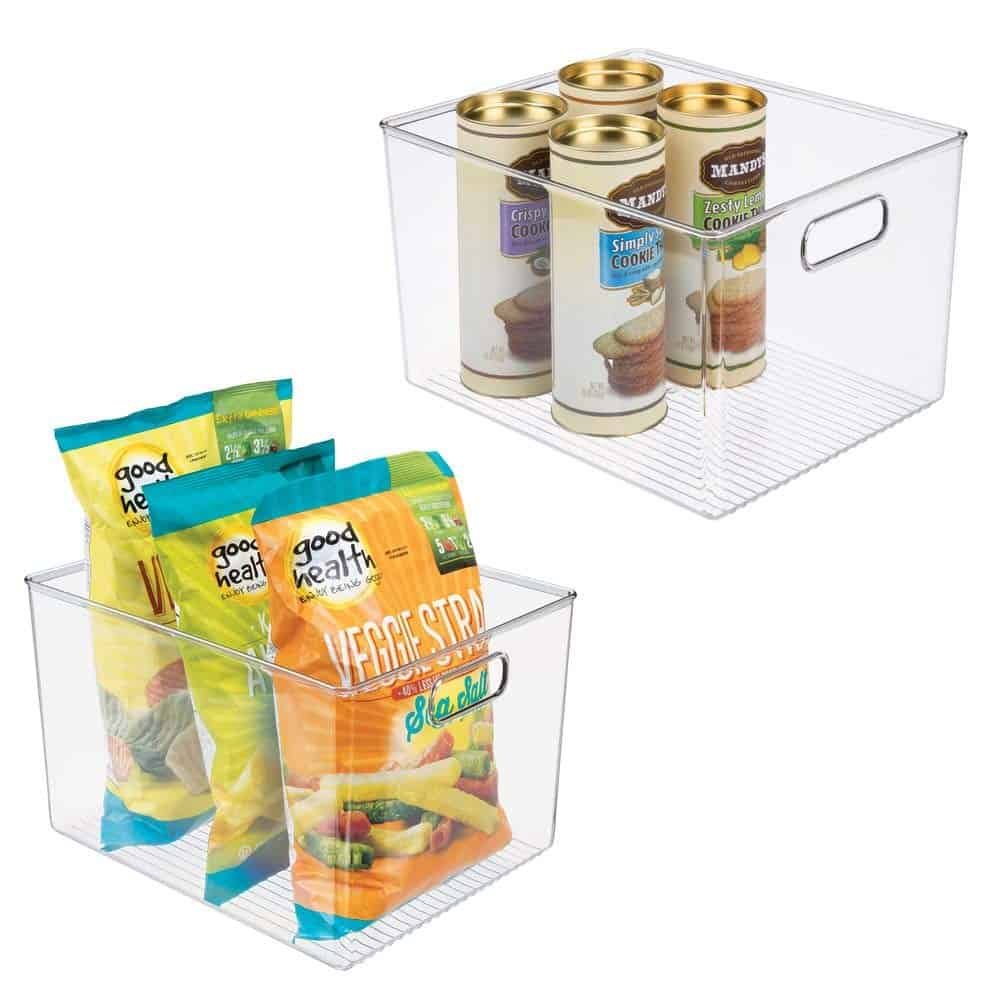 Food pantry plastic containers.
