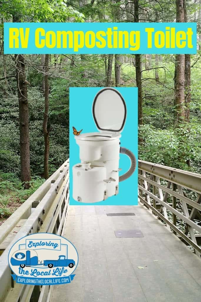 Airhead composting toilet image hovering over a boardwalk in the woods.