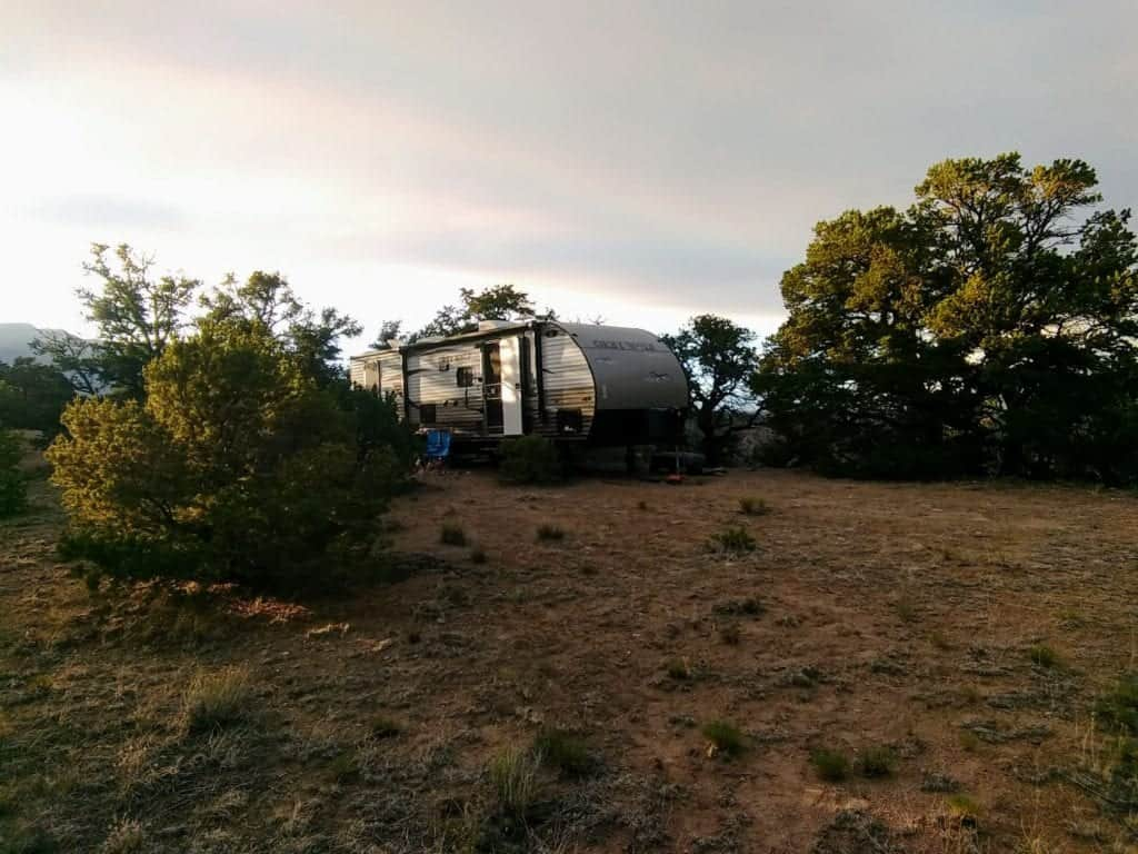 A travel trailer parked on BLM land in Salida Colorado.