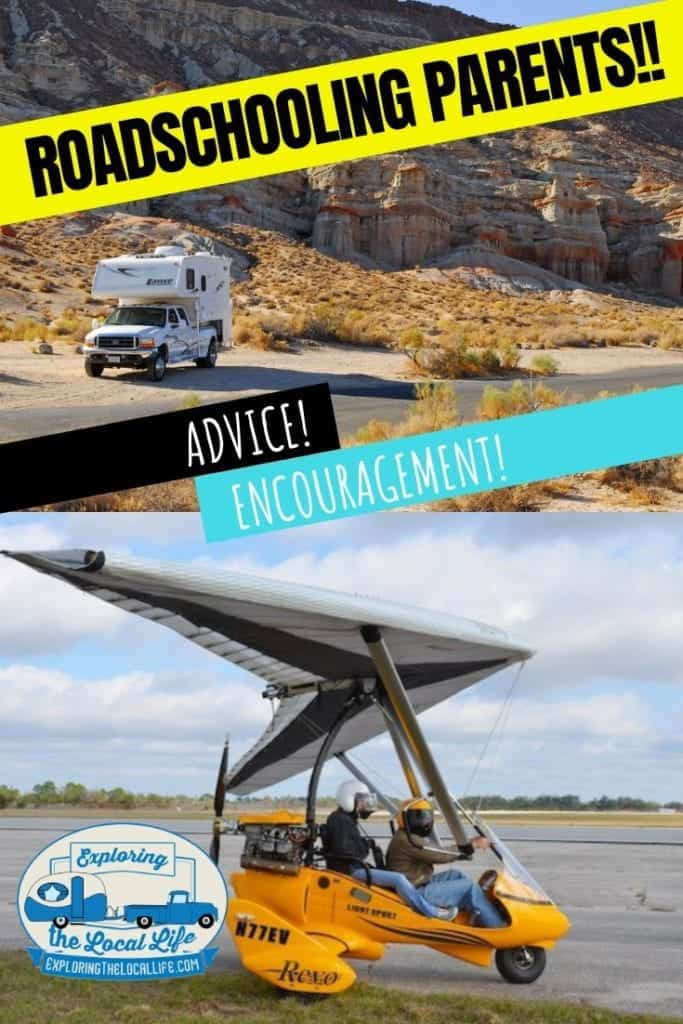 Photo collage of a truck camper out west and a glider with 2 passengers