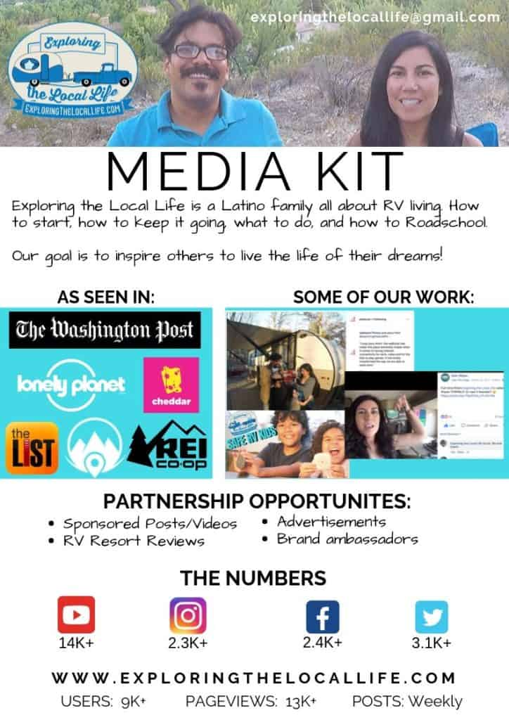 Media kit for Exploring the Local Life combining photo, logo, and text.