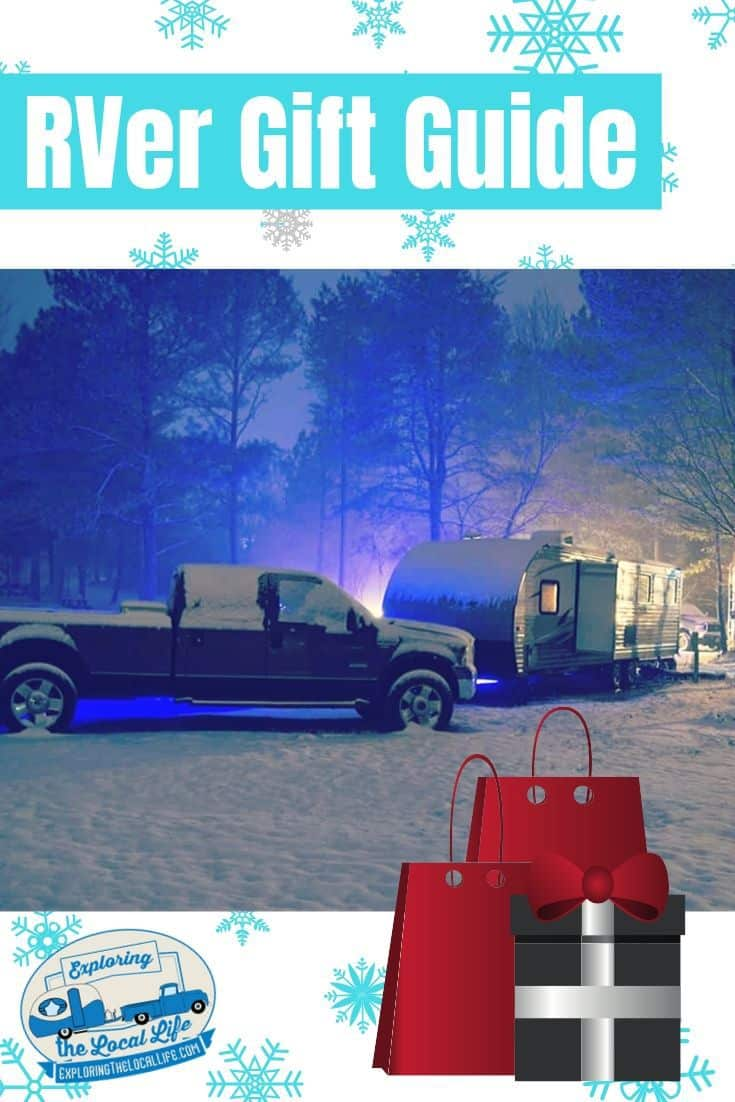 Photo collage including a truck and trailer in the snow and cartoon snowflakes and Christmas gifts.